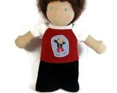 10 inch Waldorf doll clothes, unisex doll clothes, red skater tee shirt and blue cords for dolls, boy doll clothing