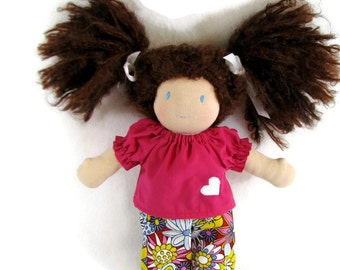 10 inch Waldorf doll outfit, pink top and bright floral twill pants, doll pink flower outfit, 10 to 12 inch chubby doll clothes