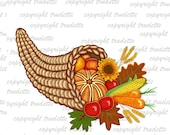 Thanksgiving Clip Art, Fall Harvest Clipart, Sunflower, Horn of Plenty, Autumn Cornucopia, Commercial use, Digital download, scrapbooking