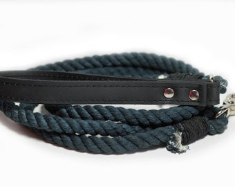 Rope Leash, Black Rope Dog Leash, Cotton Rope leash with leather handle