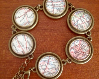 Vintage map bracelet / Route 66 map pieces / bronze tone bracelet / vintage national geographic maps