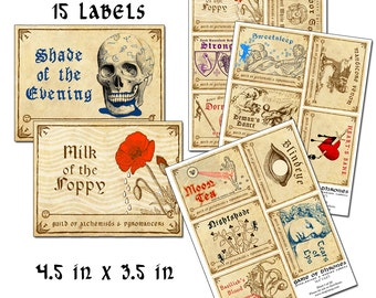 Game of Thrones Wine Poison and Potion Labels full size color 4.5 x 3.5