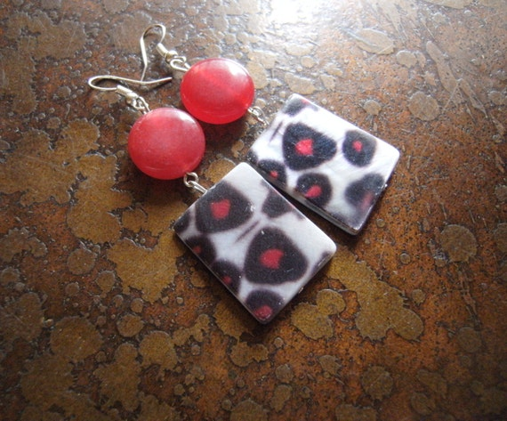 Leopard Spots Mother of Pearl and Acrylic Beaded Dangle earrings-LAST ONE