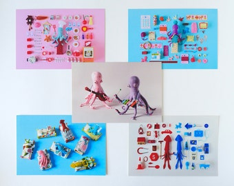 5 Postcard Set: Cephalopod collection - squid octopus photography slug toy miniature notecard blue pink bed children craft cooking music art