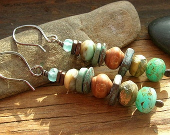Aqua Sea Rustic Stack Picasso Finish Czech Glass and ceramic earrings Bohemian Boho chic sterling silver ear wires aqua blue brown earthy