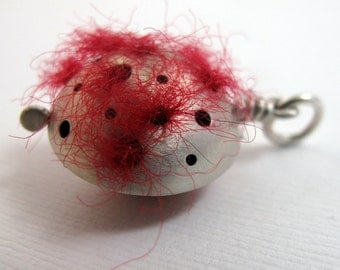 CS15 - My Lucky Felt Charm by ReaganHayhurst - Sterling Silver and Red Felt Charm Pendant