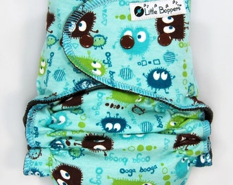 Custom Cloth Diaper or Cover - Aqua Ooga Booga - You Pick Size and Style - Made to Order Cloth Nappy or Wrap - Monsters