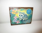 Raccoon Wall Art - Vintage 1970's Decoupage of Kitsch Raccoon Print on Wood Panel - Ready to Hang - Kids Childrens Room Decor