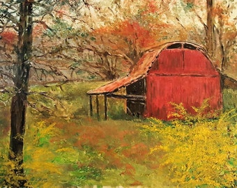 framed original oil painting of red barn in the woods 9x12