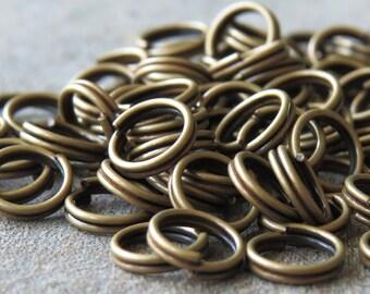 6mm Antique Brass Split Jump Rings : 50 pc Brass Split Jumpring