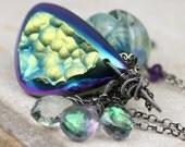 Druzy Necklace - Gemstone Necklace - Wire Wrapped Necklace - Charm Necklace - Rainbow Necklace - Luxury Necklace - Oxidized Silver Necklace
