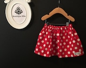 Will fit Size 18-24 month, 2T, 3T to 4T - READY to MAIL - Children Skirt - Minnie Mouse - Polka Dot - by Boutique Mia and More