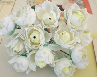 Miniature Roses Bouquet / Vintage Millinery / Cotton Linen Fabric / White and Yellow