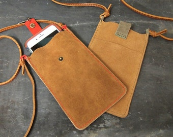 Leather Iphone 6 crossbody pouch case with snap closure and vintage charm  6x4