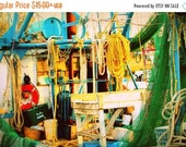 Holiday Sale Shrimp Boat Deck: colorful fine art photography print of fishing equipment in vibrant blue, green, yellow, orange