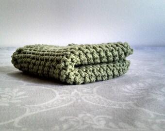 Pea Green Cotton Dishcloth
