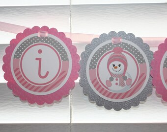 SNOWMAN High Chair Banner / SNOWMAN Girl High Chair Banner / Snowflake High Chair Banner / I am One banner / I am 1 / pink silver