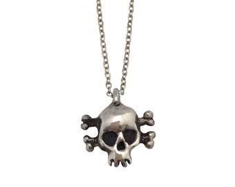 Skull Necklace    charm pendant silver gold skeleton crossbones jewelry