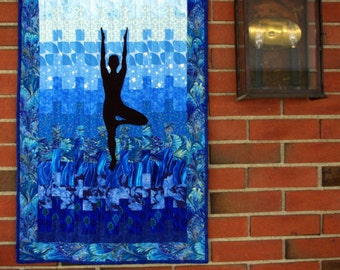 Yoga Quilted Wall Hanging, Tree Pose Yoga Quilt, Namaste, Quiltsy Handmade