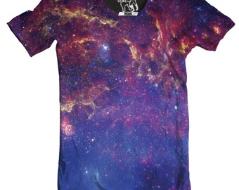 Milky Way Men's Tee, Cool Outer Space T-Shirt, Cosmos Graphic Tee, Stars, Planet, Galactic Science Crewnack, S-2XL