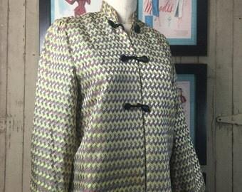 On sale 1940s jacket asian style jacket 40s jacket size medium mandarin jacket brocade jacket