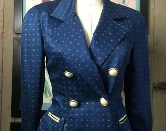 On sale 1990s jacket fitted jacket blue blazer dress jacket size medium vintage jacket double breasted jacket platinum jacket