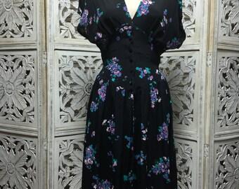 80s black floral dress 1980s vintage dress size medium 80s does the 40s rayon dress