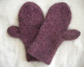Hand Knitted FELTED MITTENS - Knit with Lopi Icelandic Wool -  Long Cuffs, Warm and Durable