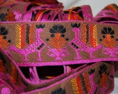VINTAGE cotton AZTEC GUATEMALAN embroidery trim pink orange