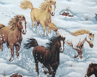 HORSES in the snow novelty quilter cotton