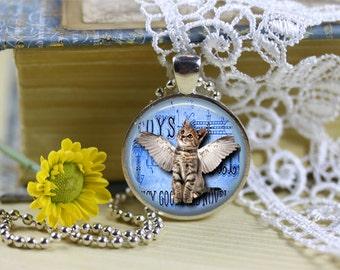 Winged Kitten Pendant, Winged Cat Necklace, Kitty Angel, Cat Angel, Tabby Cat Angel, Cat Lover Jewelry, Cat Jewelry