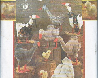 """Simplicity 8957 Life Size Decorative Geese 28"""" and Goslings 9"""" Transfers Appliques Sewing Pattern Out of Print UNCUT"""