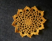 "New Handmade Crocheted ""83"" Coaster/Doily in Goldenrod"