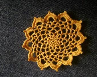 """New Handmade Crocheted """"83"""" Coaster/Doily in Goldenrod"""