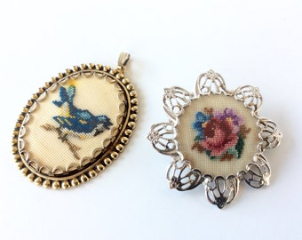 Embroidered Jewelry, Vintage Petit Point Embroidered Brooch & Embroidered Pendant. Floral Rose, Blue Bird in Filigree Silver and Gold Tone.