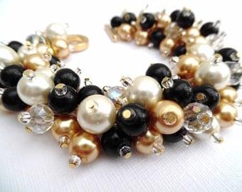 Black Ivory and Gold Bracelet, Wedding Jewelry, Pearl Bridesmaid Bracelet, Cluster Bracelet, Pearl Bracelet, Black Wedding Theme, Gift Idea
