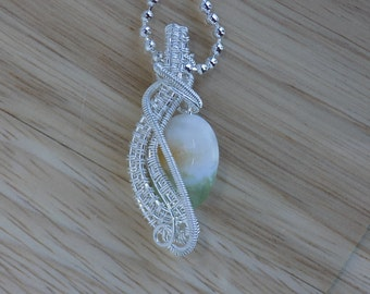 Green Fluorite with Quartz Oval Weave Pendant Wire Wrapped Sterling Silver Wire Pendant Wire Wrapped Jewelry Handmade Crystal Healing Amulet