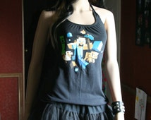 Minecraft tank top halter neck upcycled small medium large xlarge plus size 3xl
