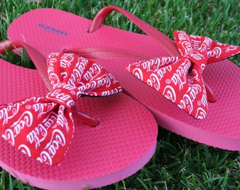 Coca Cola Coke inspired Flip Flop Sandals Licensed fabric handmade to your shoe size