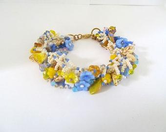 Beadwoven Fringe Bracelet, Sunny Yellow, Flower Bead Bracelet, Cha Cha Bracelet, Glass Bead Bracelet, Boho Jewelry, Seed Bead Bracelet, Gift