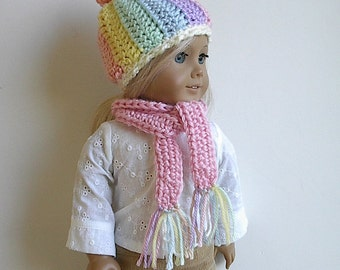 "Crocheted Doll Hat and Scarf Set Pastel Colors with Corkscrew Topknot Handmade to Fit the American Girl and other 18"" Dolls - Choose Scarf"