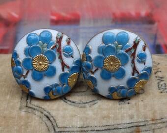 Vintage Toshikane Arita Earrings Porcelain Cherry Blossom