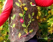 Brown Nuno Felt Women Vest Merino wool Vest  Silk  Wearable Art  Autumn Flowers  Leaves  Tree  Vest Maternity