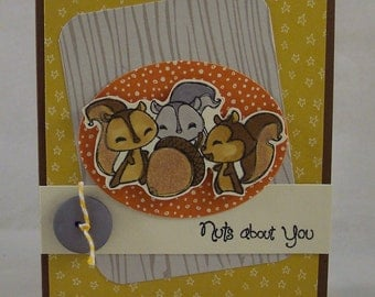Nutty Squirrel Card - Nuts About You Anniversary Card - Woodland Squirrel Greeting Card  - Acorn and Squirrels Card - Hand Made Hand Stamped