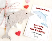 24 Plantable Dolphins Kids Valentines Seed Paper Dolphins Birthday Party Favors - Valentine's Day Cards - Marine Ocean Sea World Nautical