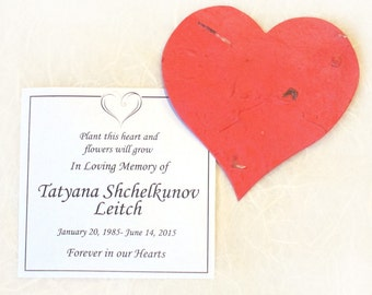 150 Plantable Memorial Hearts and Cards - Personalized Plantable Seed Paper Memorial Cards - Funeral Favors - Custom Options