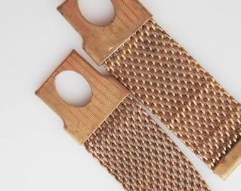 metal meshed VINTAGE braces brooch band  x 2