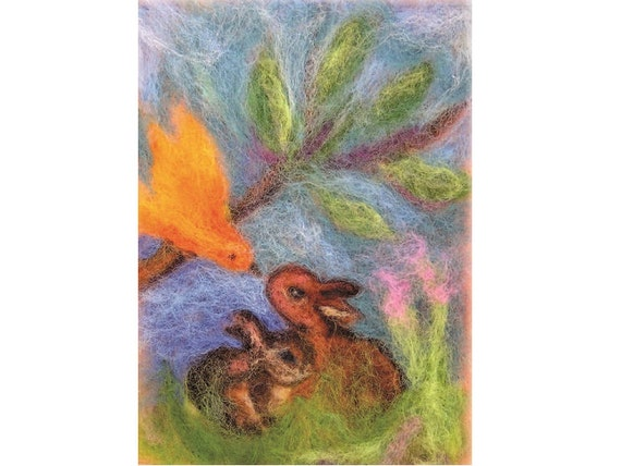 Bunnies and bird conversation-print reproduction of my original needle felted wool painting tapestry
