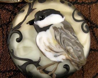 NEW Lampwork Chickadee Focal Bead by Kerribeads