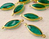 Christmas in July Sale - Vintage Swarovski Emerald Green Crystal Navette Pendant Charms (29-2B-6)